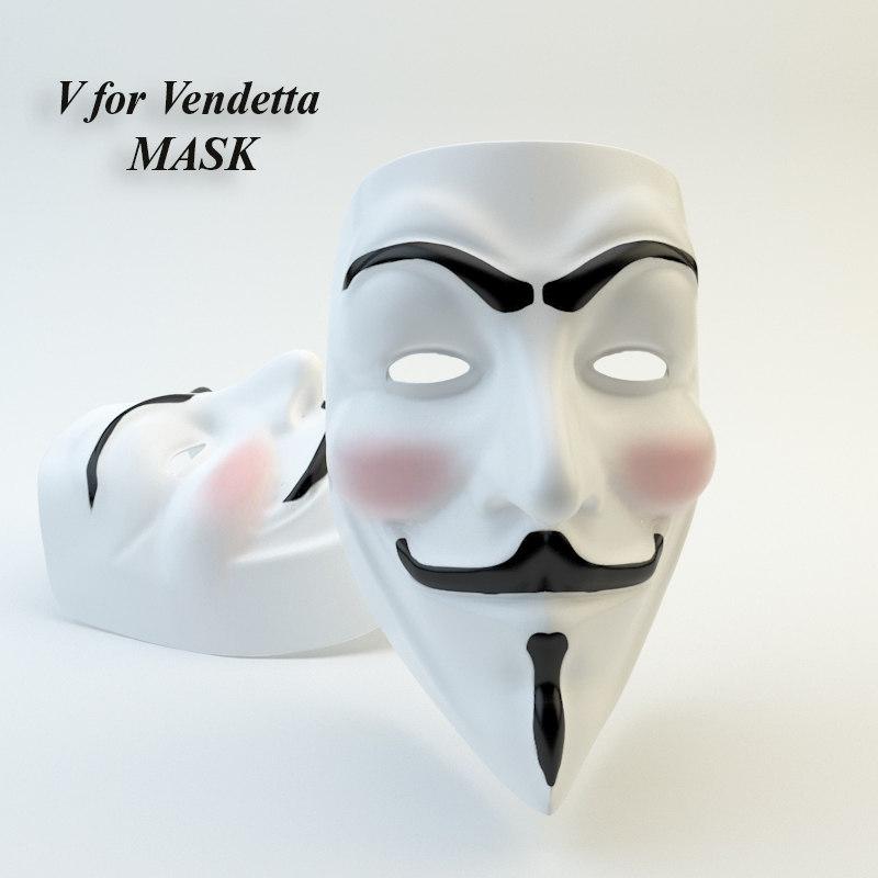 v vendetta mask 3d model