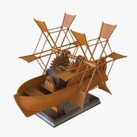 leonardo paddlewhell boat 3d max
