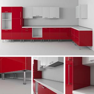 3d ikea kitchen modules model