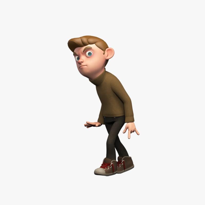 rigged cartoon boy character 3d max