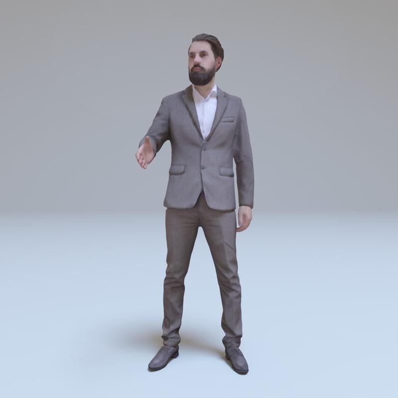 bearded businessman greeting people human 3d model