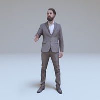 bearded businessman greeting people human 3d model