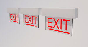 3d exit sign direction light