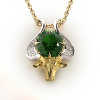 Taurus Zodiac Sign Pendant with emerald 003-05