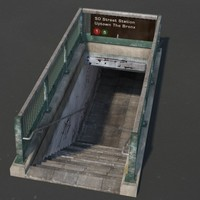 new york subway entrance 3d c4d