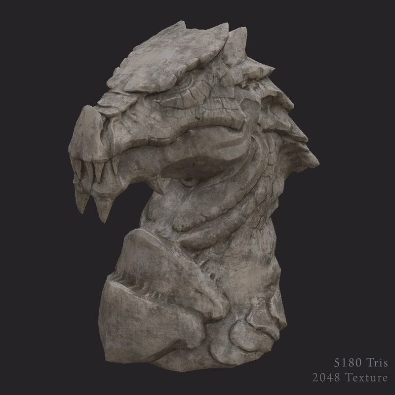 ready dragon statue pbr 3d model
