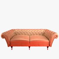 sofa leather metal obj