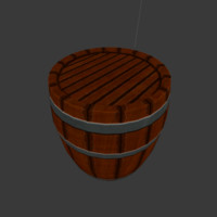 rugged wooden barrel low-poly 3d blend