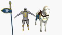 3d blender knight horse model