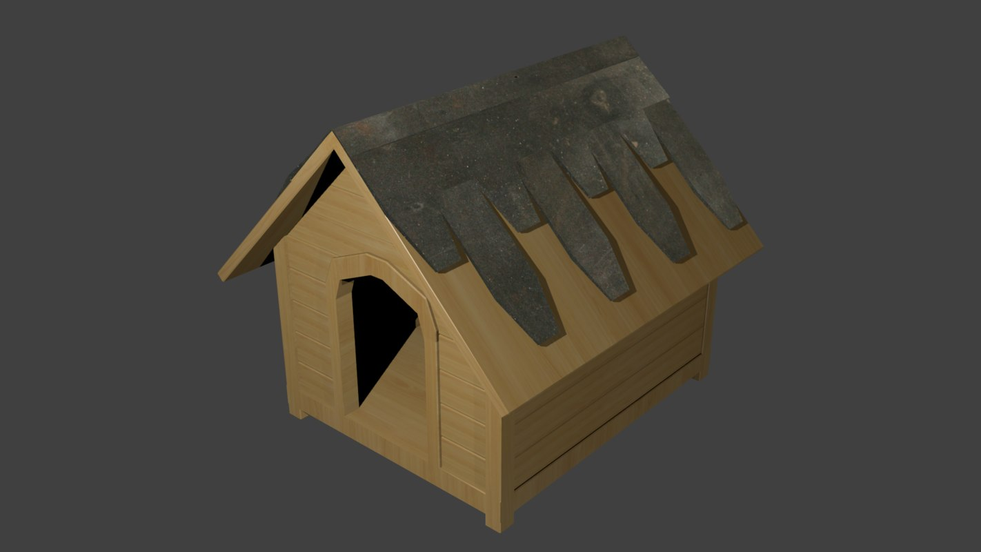 free doghouse dog 3d model