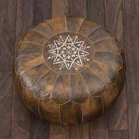 3d moroccan leather pouf