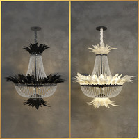 3d model luxury crystal chandelier feather