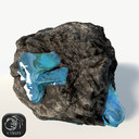 Asteroid with blue ore (2) low poly