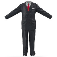 3d mens business suit red