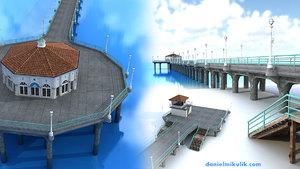 manhattan beach pier 3d model