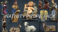 christmas nativity scene props 3d ma