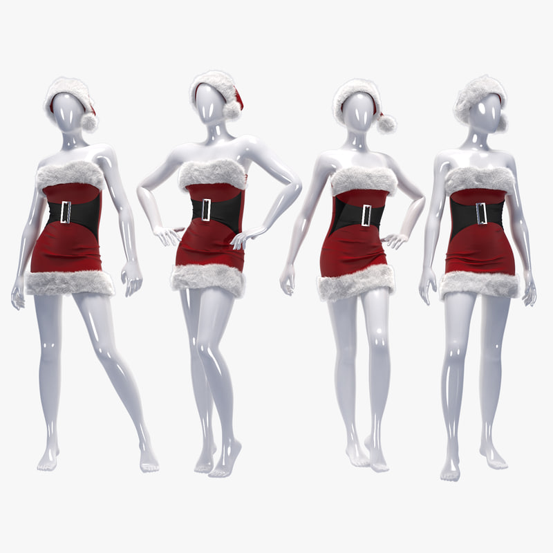 3d model female christmas santa mannequins