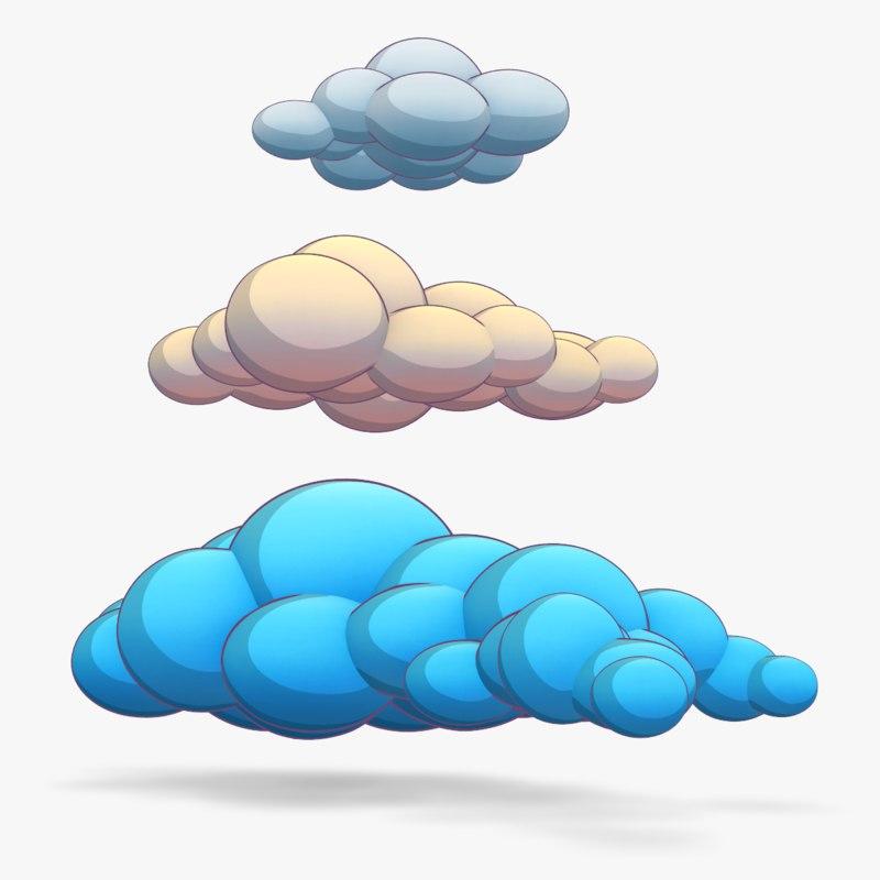 beautiful clouds cartoon games 3d model