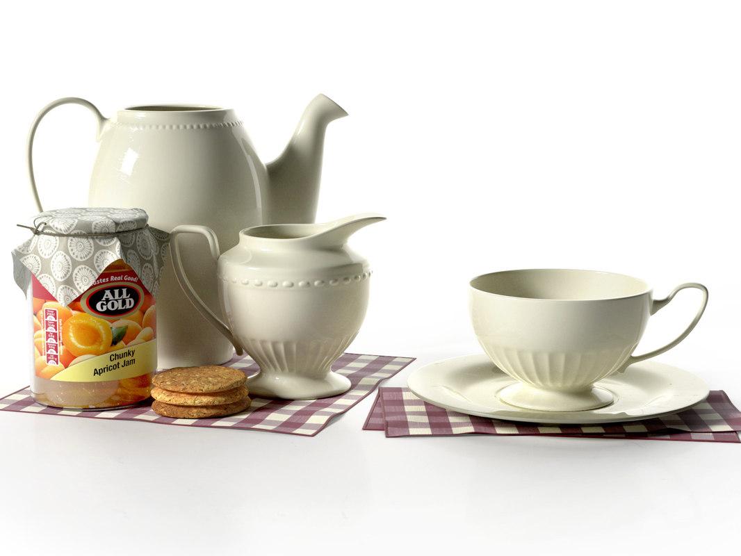 3d vintage tea set