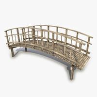 3d model wood wooden bridge
