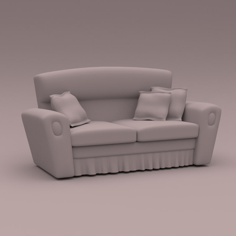 couch cartoon obj
