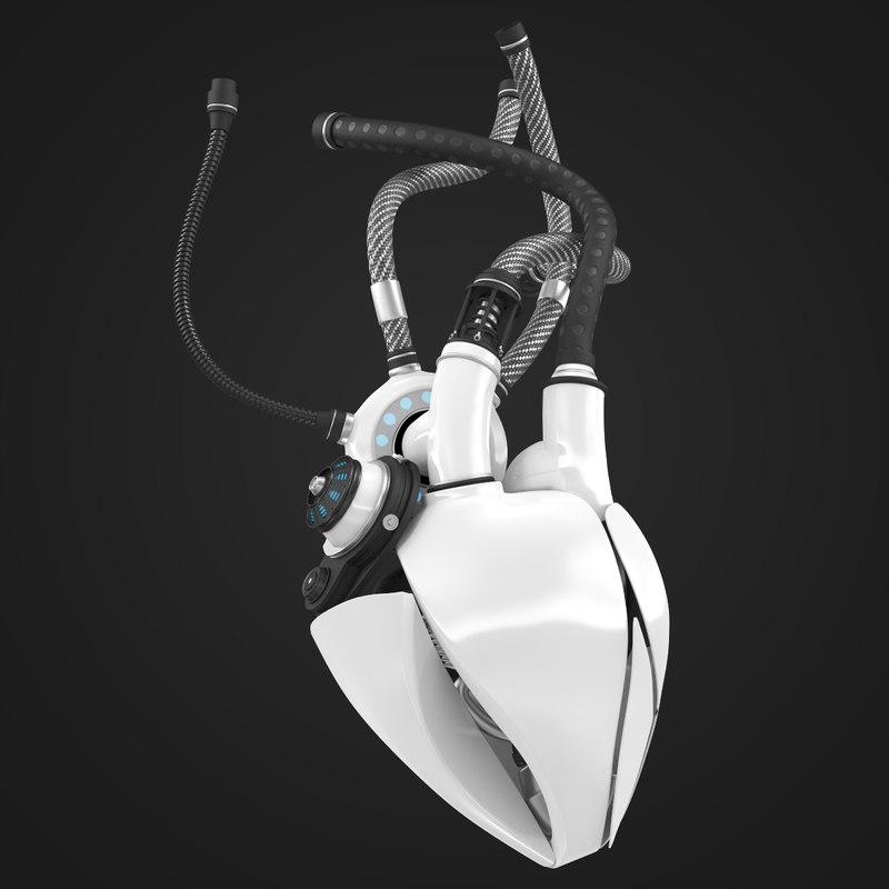 3d sci-fi robot mechanical heart