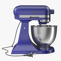 Retro Stand Mixer Blue 3D Model
