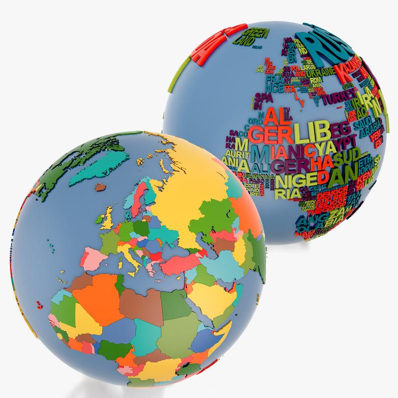 world globe 3d 3ds