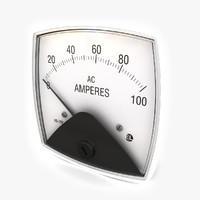 3d vintage ammeter 05 model