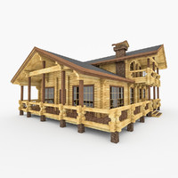 3d model bar wood house