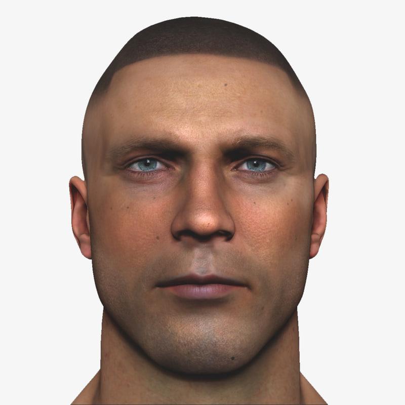 realistic male head 3d max