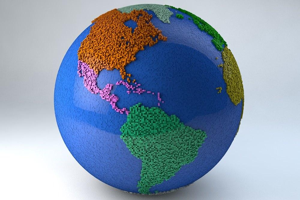 3ds modern pixel earth