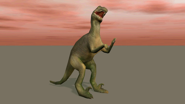 free velociraptor dinosau low-poly animations 3d model