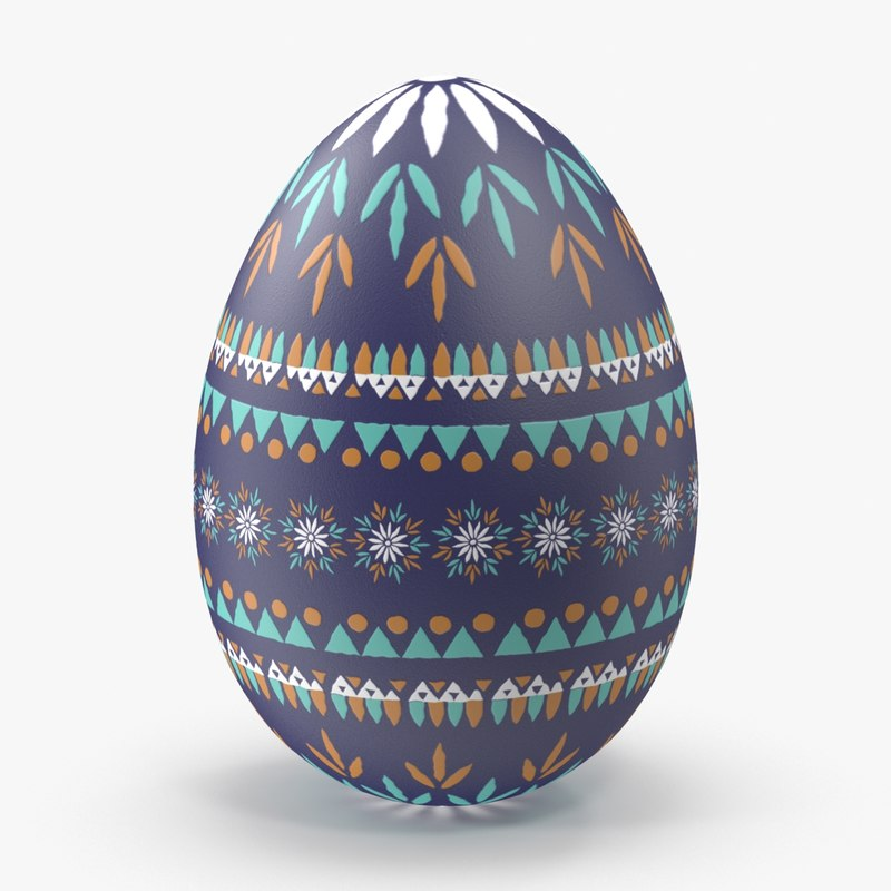 german easter egg dark blue 3d model