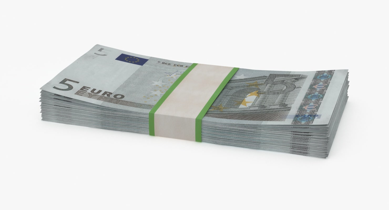 5 euro bill pack 3d model