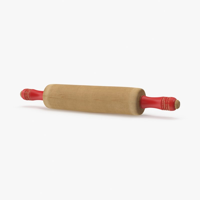 3d vintage wooden rolling pin