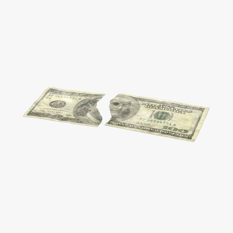 100 dollar bill torn 3d model