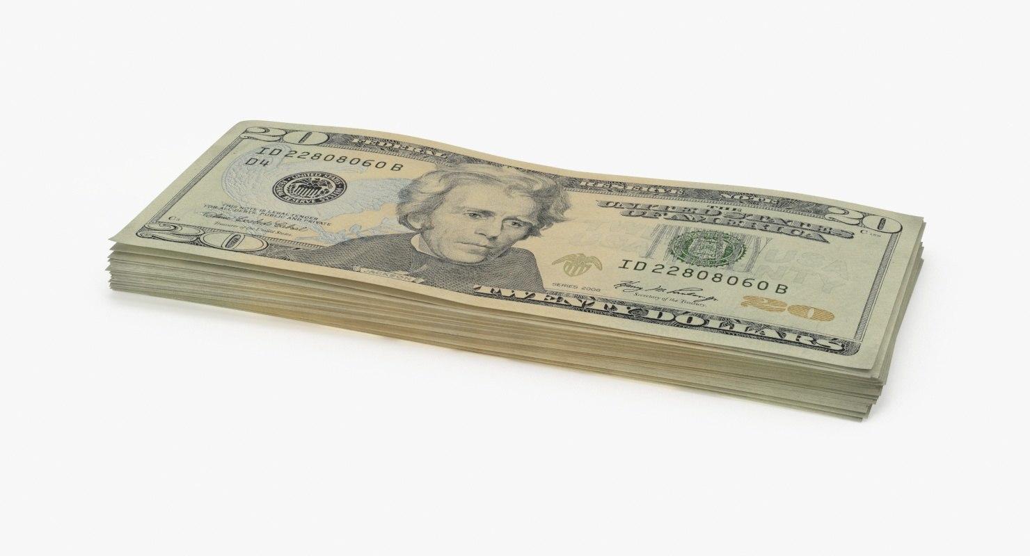 20 dollar bill stack 3d model
