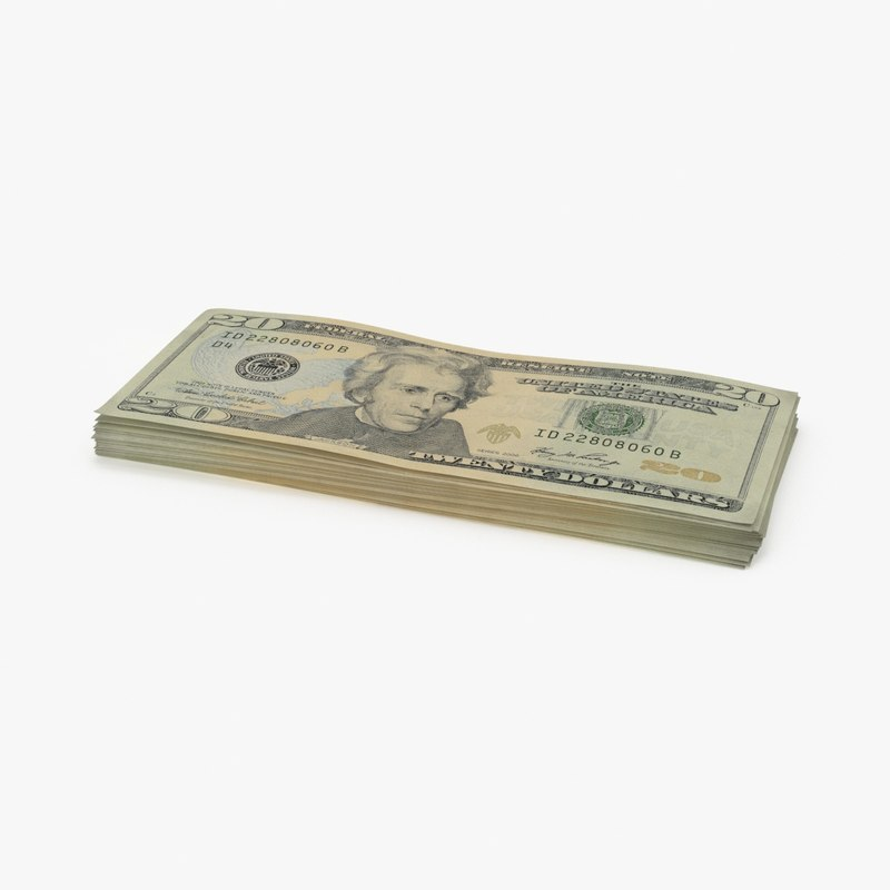 20 dollar bill stack 3d model