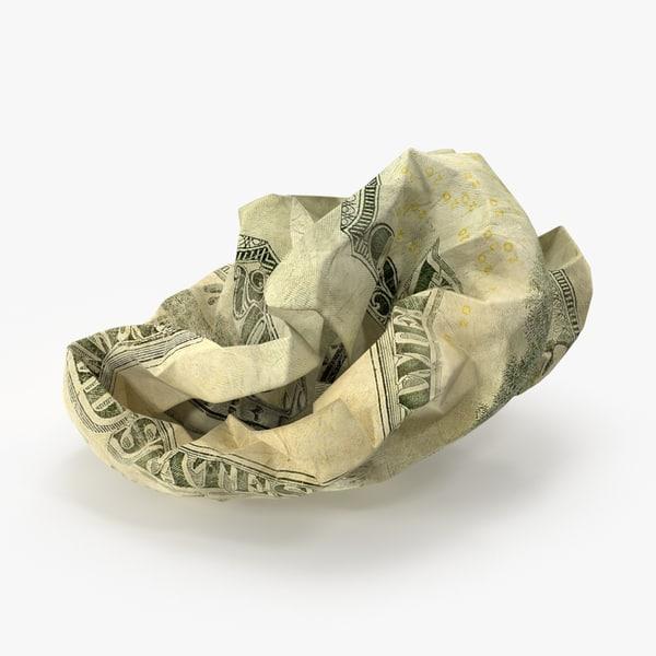 20 dollar bill crumpled 3d max