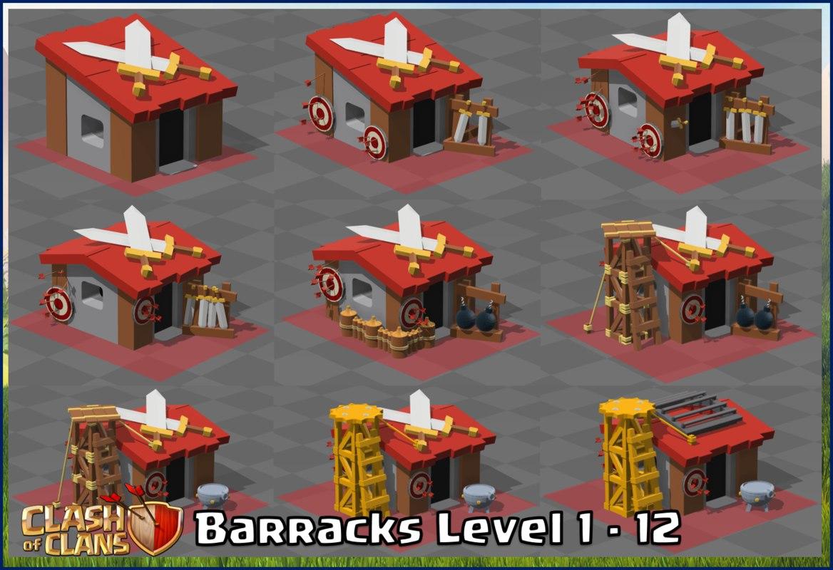 3d model of clash clans barracks level