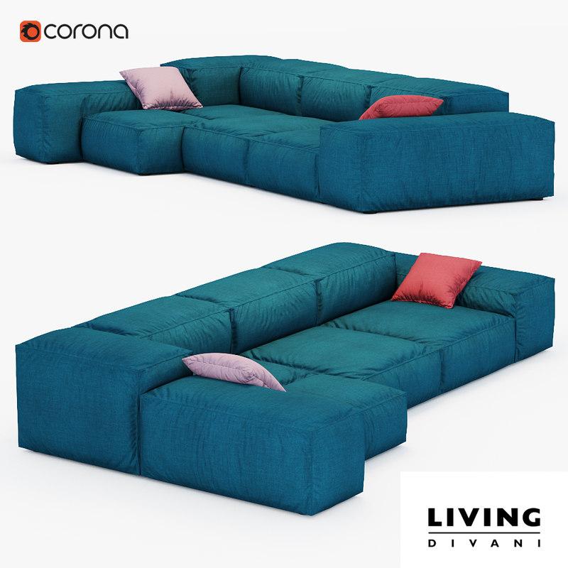 3d sofa extrasoft living divani model