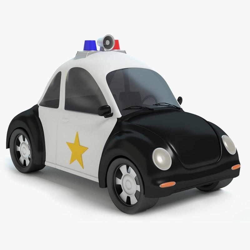 Cartoon Police Car 3ds