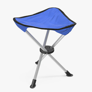 tripod folding chair blue 3d model