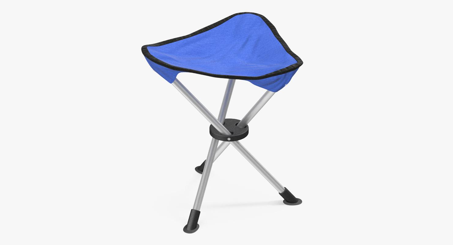 tripod folding chair blue 3d model