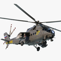 Russian Large Helicopter Gunship Mi-35M Hind Rigged 3D Model