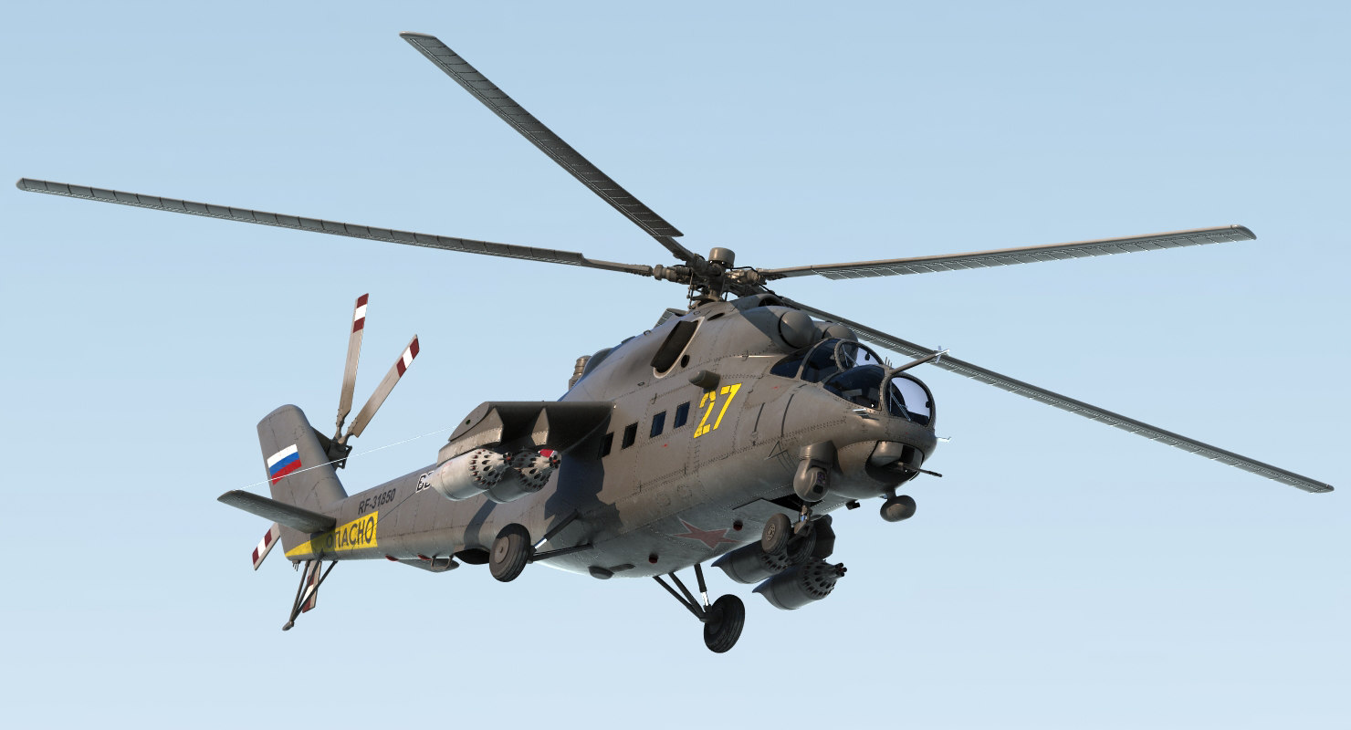 russian large helicopter gunship 3d model