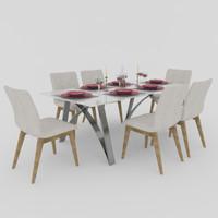 dinner table 3d 3ds