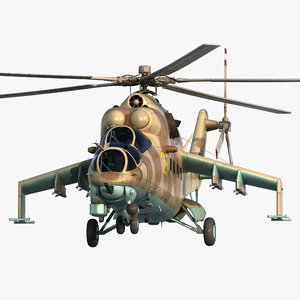 russian helicopter mil mi-24 hind 3d model