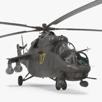 3d russian large helicopter gunship